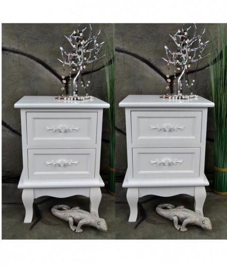 NOA105 - Set 2 Noptiere albe cu 2 sertare si detaliu floral