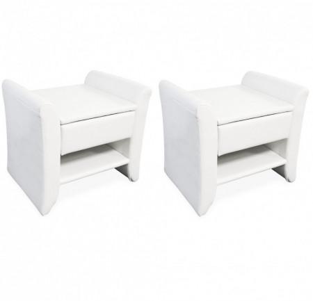 NOA210 - Set 2 Noptiere albe capitonate cu 1 sertar pentru dormitor - Piele ecologica