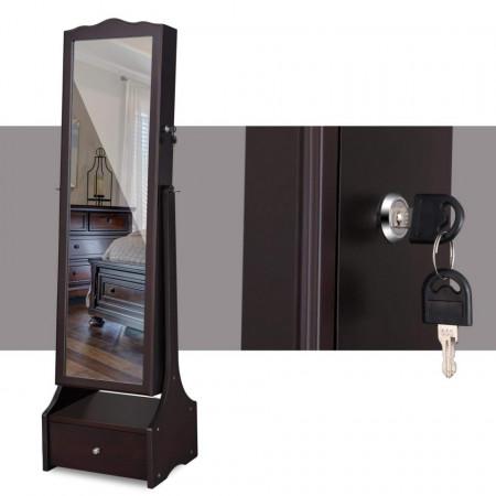 OGM103 - Oglinda caseta de bijuterii cu LED, dulap, dulapior cu picioare dormitor, dressing - Maro