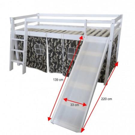 PAAC6 - Pat cu tobogan pentru 1 persoana, dormitor copii - 90 x 200 cm - Alb