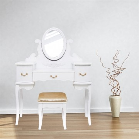 SEA245 - Set Masa alba toaleta cosmetica machiaj oglinda reglabila masuta vanity, scaunel, taburet tapitat