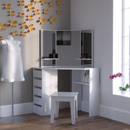 SEA332 - Set Masa alba toaleta cosmetica machiaj oglinda masuta vanity pe colt