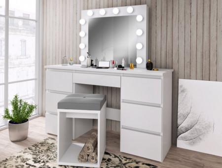 SEA516 - Set Masa toaleta, 120 cm, cosmetica machiaj, masuta vanity, oglinda cu LED-uri - Alb, Maro