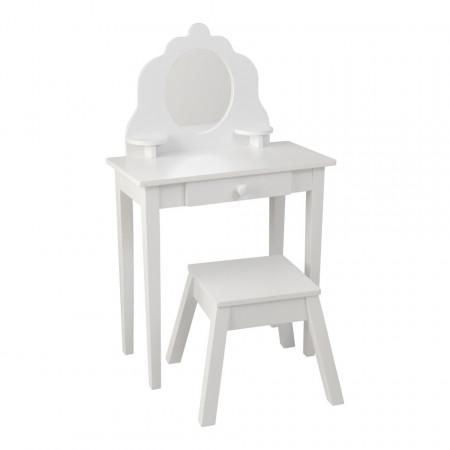 SEAC102 - Set masuta, scaunel, oglinda printese lemn alb Masa, vanity