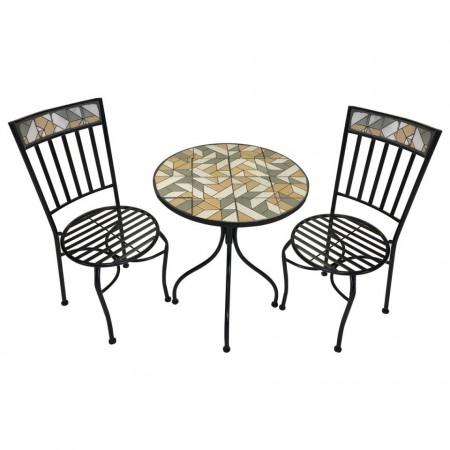 SEGM110 - Set Masa si 2 scaune pliante Mozaic gradina, terasa, balcon - Maro