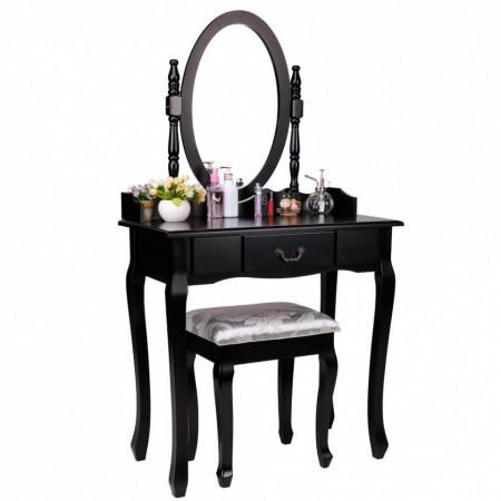 SEN16 - Set Masa neagra toaleta cosmetica machiaj oglinda masuta, taburet tapitat