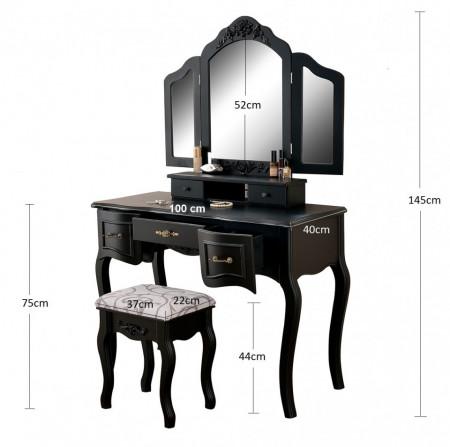 SEN202 - Set Masa neagra toaleta cosmetica machiaj oglinda masuta