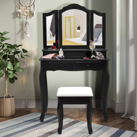 SEN213 - Set Masa neagra toaleta cu 4 sertare cosmetica machiaj oglinda masuta, scaunel taburet tapitat