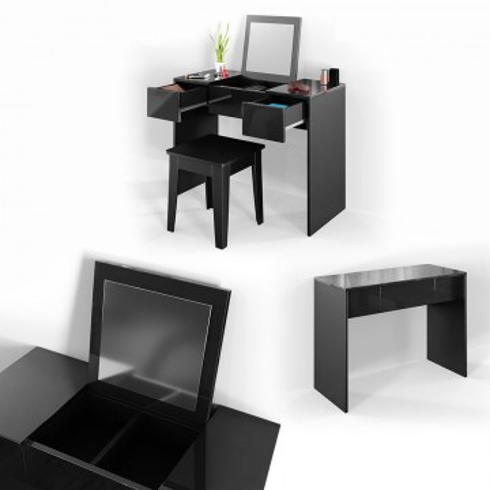 SEN219 - Set Masa neagra toaleta cosmetica machiaj oglinda plianta masuta vanity