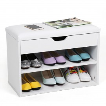 BAA102 - Banca, lada pentru Hol, pantofi, depozitare - Alba