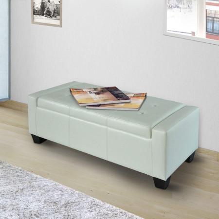 BAA215 - Divan, Canapea, fotoliu, sofa, bancheta, bancuta, banca living, dormitor, hol: Alba, piele ecologica