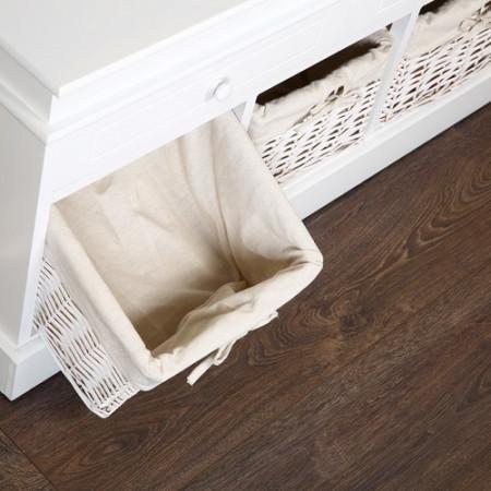 BAA5 - Bancheta, bancuta, hol, baie, dormitor banca lemn vopsit 2 sertare si 3 cosuri rachita - Alb