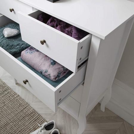 COA128 - Comoda alba, 100 cm, dulap cu 5 sertare pentru dormitor - Lisabona