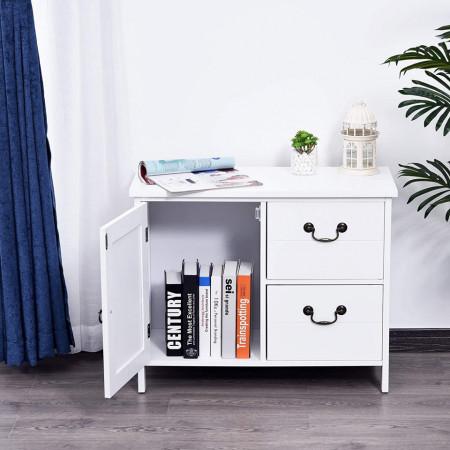 COA216 - Comoda, 75 cm, dulap living, hol, dormitor cu 2 sertare si dulapior - Alb