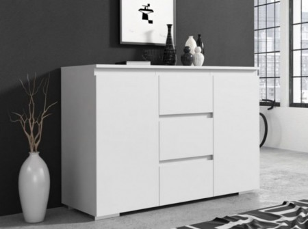 COA502 - Comoda 120 cm, cu 3 sertare si 2 dulapuri pentru dormitor, living, dining - Alba/ Crem/ Maro