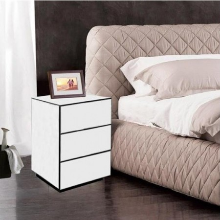 NOOG110 - Noptiera, dulap cu 3 sertare, dormitor - Oglinda - Argintiu