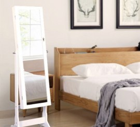 OGA110 - Oglinda caseta de bijuterii cu LED, dulap, dulapior cu picioare dormitor, dressing - Alb