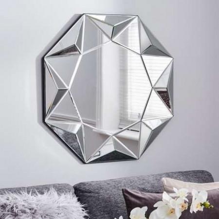 OGG110 - Oglinda perete ornamentala, 80 cm, oglinda decorativa, dormitor, living, baie - Argintie 3D
