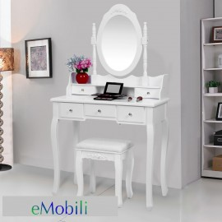 SEA119 - Set Masa alba toaleta cosmetica machiaj oglinda masuta