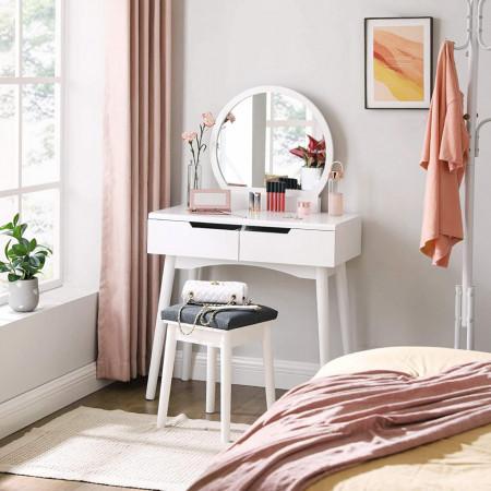 SEA220 - Set Masa alba toaleta cosmetica machiaj oglinda masuta vanity, scaunel, taburet tapitat