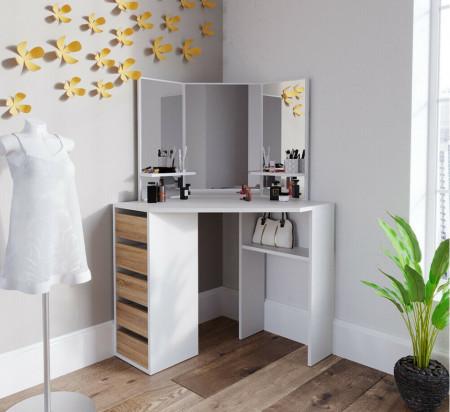 SEA274 - Set Masa toaleta cosmetica machiaj, cu oglinda make-up cu sau fara LED-uri, masuta vanity - Alb cu Maro pe colt