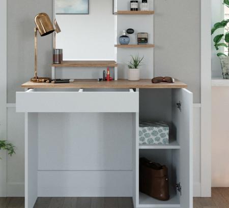 SEA293 - Set Masa toaleta, 90 cm, cosmetica machiaj oglinda cu sau fara LED, masuta vanity, cu sau fara scaunel - Alb-Maro