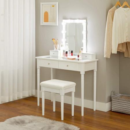SEA346 - Set Masa alba toaleta, 90 cm, cosmetica machiaj oglinda masuta vanity cu oglinda cu LED, cu scaun tapitat