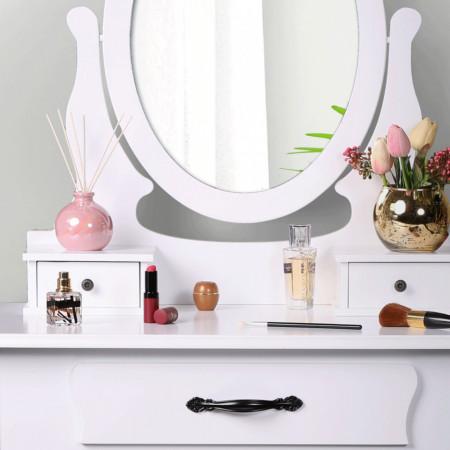 SEA607 - Set Masa toaleta, 72 cm, consola cosmetica machiaj masuta vanity make-up cu oglinda si scaun tapitat- Alb