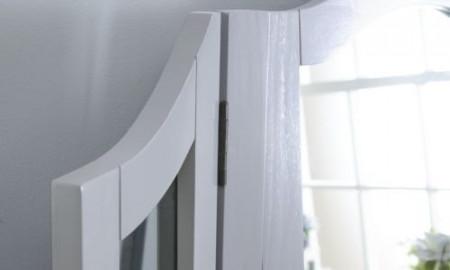 SEG105 - Set Masa Gri toaleta cosmetica machiaj oglinda masuta, scaun, taburet tapitat