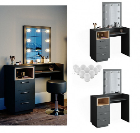 SEG204 - Set Masa toaleta, 100 cm, moderna cosmetica machiaj oglinda, masuta vanity cu sau fara LED- Antracit