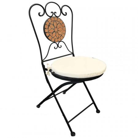 SEGP202 - Set Masa si scaune pliante Mozaic cu pernita pentru gradina, terasa, balcon - Portocaliu teracota