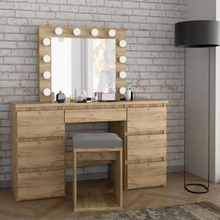 SEM508 - Set Masa toaleta, 120 cm, cosmetica machiaj, masuta vanity, oglinda cu LED-uri - Culoarea Stejar