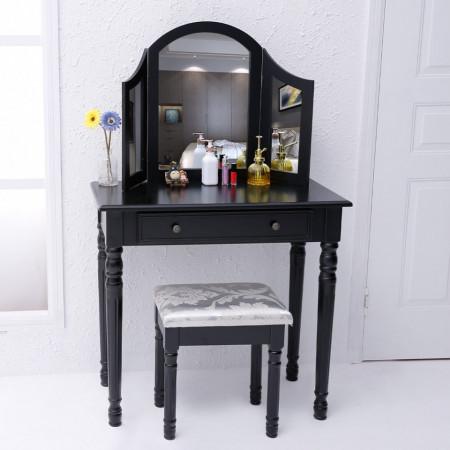 SEN14 - Masuta Neagra toaleta, Scaun, oglinda machiaj cosmetica