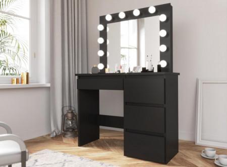 SEN505 - Set Masa toaleta cosmetica machiaj oglinda masuta vanity, oglinda cu LED-uri - Negru