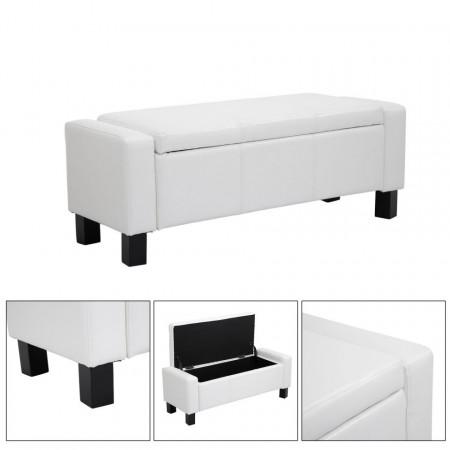 BAN110 - Bancuta, Canapea, fotoliu, sofa, bancheta, banca living, dormitor, hol, lada, ladita depozitare - Alb/Negru