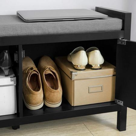 BAN2 - Banca 91 cm, bancuta pentru Hol, depozitare pantofi - Neagra