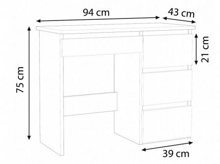 BIA504 - Masa de Birou 94 cm, office - Alb, Maro sau Crem