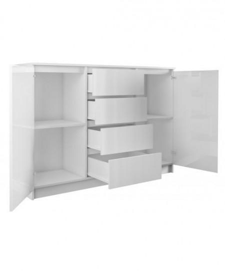 COA503 - Comoda 120 cm, cu 3 sertare si 2 dulapuri pentru dormitor, living, dining - Alb Mat/ Alb Lucios