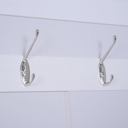 CUI210 - Cuier Alb, 4 agatatori haine din metal, chei hol, pantofar