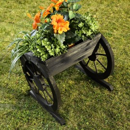 JAN1 - Jardiniera trandafiri roata pentru gradina, terasa, balcon - Neagra
