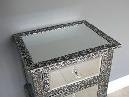 NOOG103 - Noptiera dulap cu 2 sertare - Argintiu
