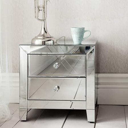 NOOG201 - Noptiera oglinda 50 cm, cu 2 sertare, dormitor - Oglinda - Argintiu