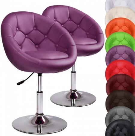 SCA210 - Set 2x Scaune tapitate pentru masa toaleta, birou, bar, lounge, club, imitatie de piele, inaltime reglabila - Mov sau Verde