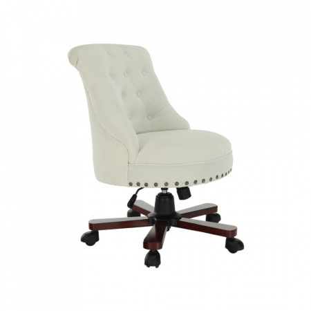 SCA603 - Fotoliu birou, Scaun tapitat, scaun masuta, masa toaleta, mahiaj - Alb
