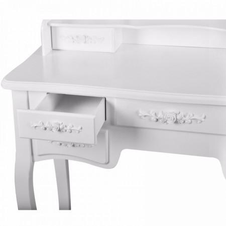 SEA230 - Set Masa alba toaleta cosmetica machiaj oglinda masuta makeup, scaunel taburet tapitat