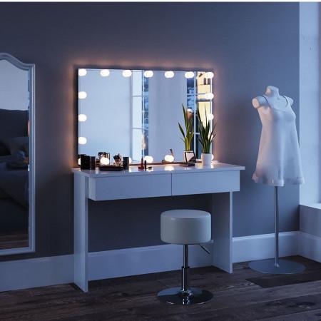 SEA252 - Set Masa alba toaleta moderna cosmetica machiaj oglinda cu LED, masuta vanity