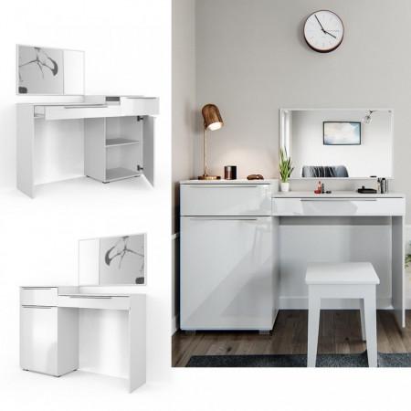 SEA337 - Set Masa alba toaleta moderna cosmetica machiaj oglinda masuta vanity cu oglinda