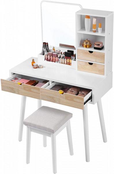SEA342 - Set Masa toaleta cosmetica 90 cm machiaj masuta vanity, oglinda make-up, cosmetica cu scaun tapitat - Alb