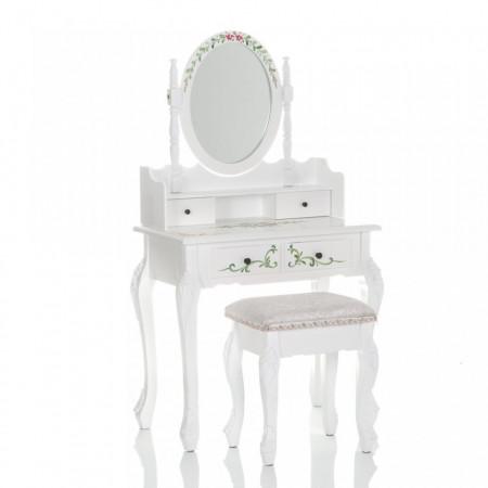 SEA503 - Set Masa alba toaleta cosmetica machiaj oglinda masuta, scaunel taburet tapitat