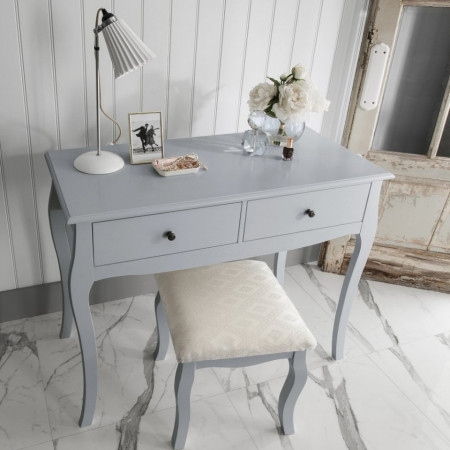 SEG114 - Set Masa gri toaleta, 100 cm, cosmetica machiaj, masuta vanity, scaunel, taburet tapitat - Lisabona